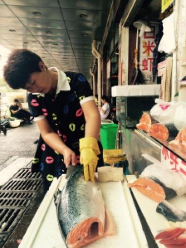 Cut up salmon